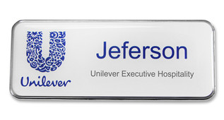 Metal Name Badges - Silver border and white background | www.namebadgesinternational.ca